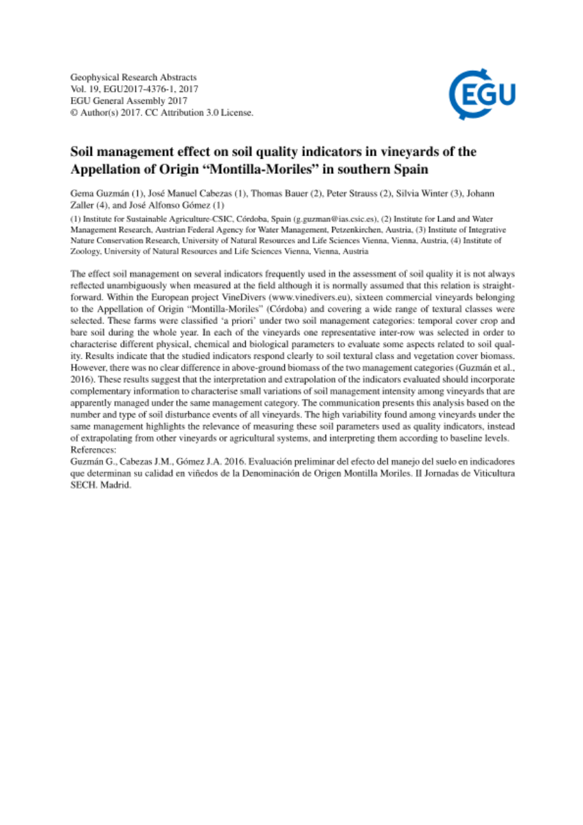 "Soil management effect on soil quality indicators in vineyards of the Appellation of Origin ""Montilla-Moriles"" in southern Spain"